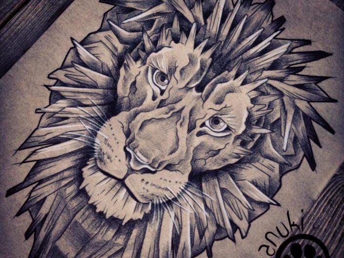 dessin lion de face par tanuki tattoo
